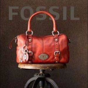 "FOSSIL ""Maddox"" Red Leather Satchel Crossbody"
